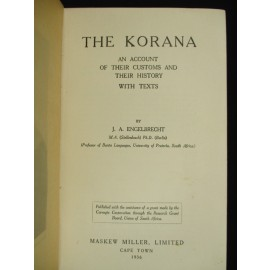 The Korana. An Account of their Customs and their History with Texts